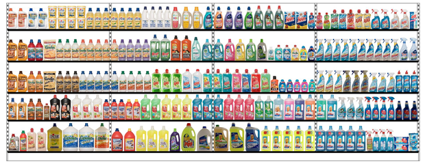 Sample planogam Cleaning Products - Floor=