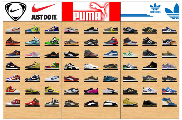 Sample planogam Wall with Running Shoes